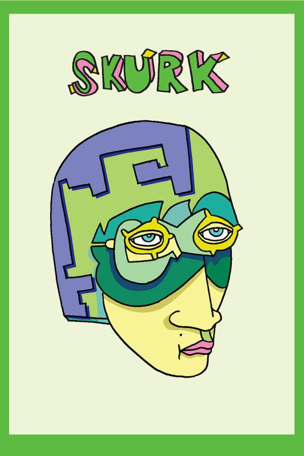 fargerik illustrasjon av hode med hjelm og briller
