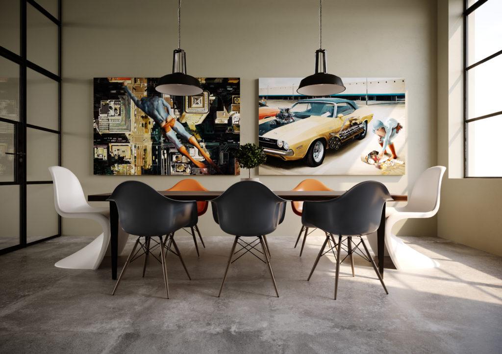 to malerier på et møterom