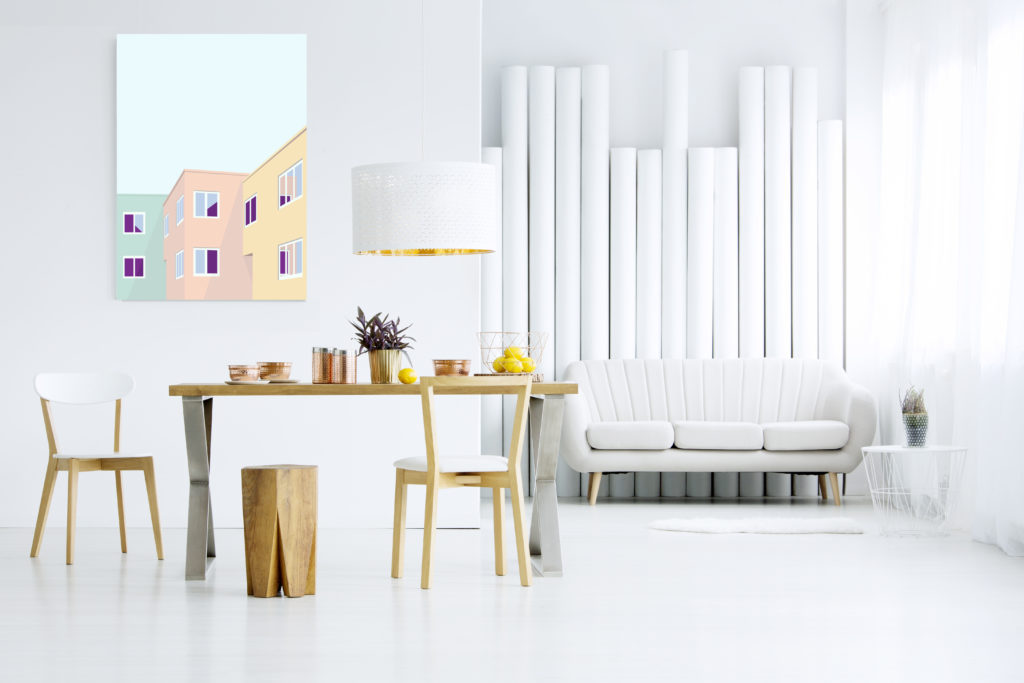 illustrasjon på vegg i rom med skandinavisk design
