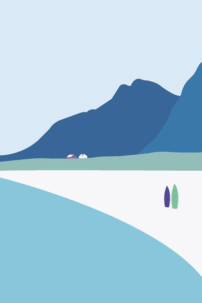 illustrasjon av lofoten i morgendis