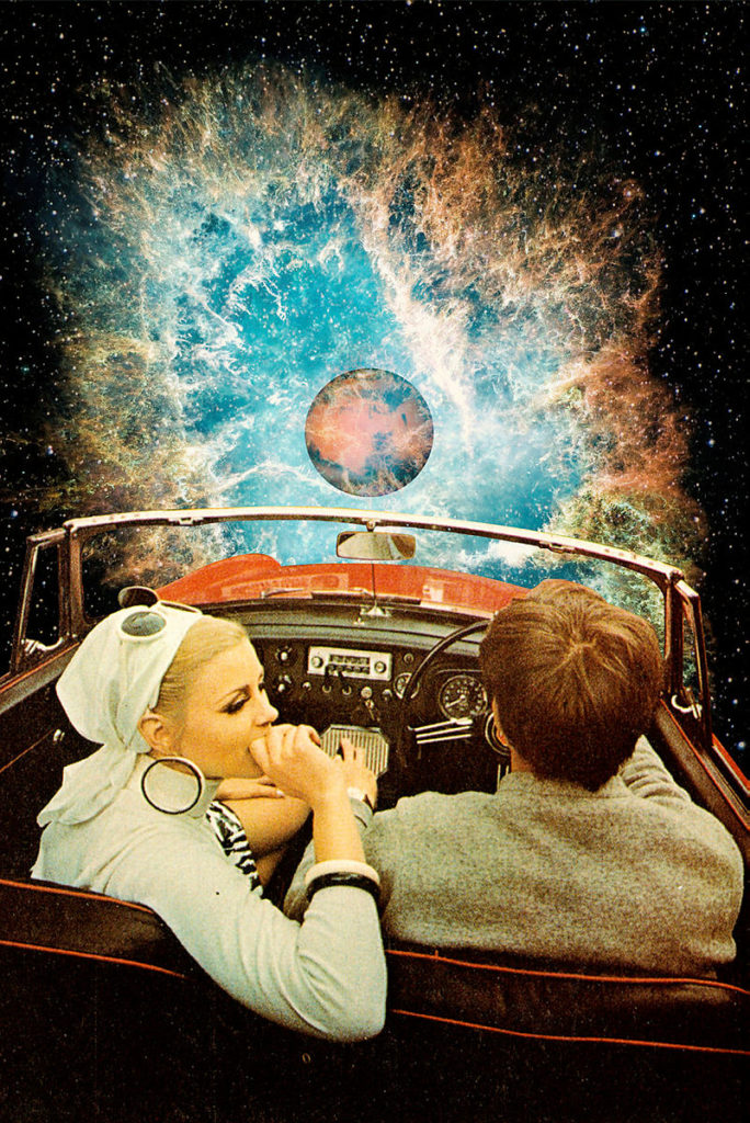 man and woman driving car in space